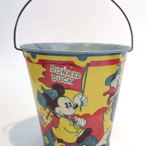 1930 Happynak No.7 Seaside Pail for sale. Antique tin litho Sand pail beach Toy featuring Disney characters Donald Duck, Mickey Mouse, Minnie Mouse.